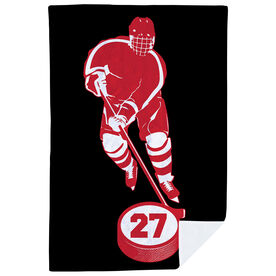 Hockey Premium Blanket - Personalized Skater With Puck