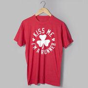 Running Short Sleeve T-Shirt - Kiss Me I am a Runner Shamrock