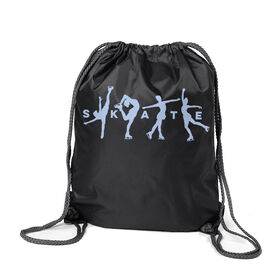 Figure Skating Sport Pack Cinch Sack - Skate With Silhouettes
