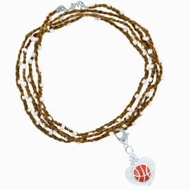 Basketball Beaded Wrap Bracelet with Basketball in Heart Charm