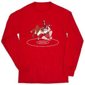 Wrestling Tshirt Long Sleeve - Wrestling Reindeer