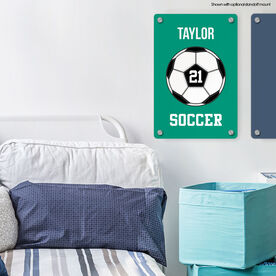 """Soccer 18"""" X 12"""" Aluminum Room Sign - Personalized Soccer Ball"""