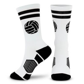 Volleyball Woven Mid-Calf Socks - Ball (White/Black)