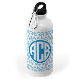 Soccer 20 oz. Stainless Steel Water Bottle - Monogram with Soccer Ball Pattern