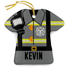 Personalized Porcelain Ornament - Firefighter Outfit