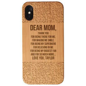 Personalized Engraved Wood IPhone® Case - Dear Mom With Pattern