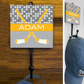 Hockey Hook Personalized 2 Tier Patterns With Crossed Sticks