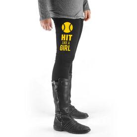 Softball High Print Leggings - Hit Like A Girl (Yellow)
