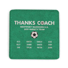 Soccer Stone Coaster - Thanks Coach Roster