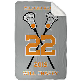 Guys Lacrosse Sherpa Fleece Blanket - Personalized Crossed Sticks Team