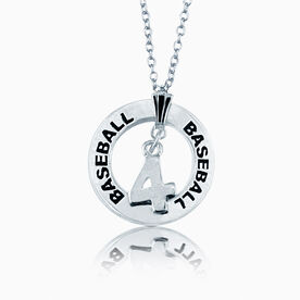 Baseball Jersey Number Message Ring Necklace