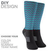 Printed Mid-Calf Socks - Chevron Team