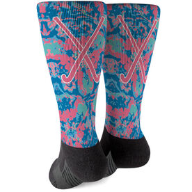 Field Hockey Printed Mid-Calf Socks - Floral Crossed Sticks
