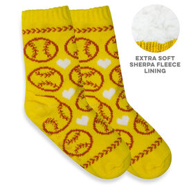 Softball Slipper Socks with Sherpa Lining