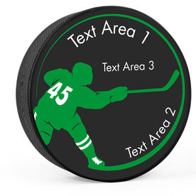Personalized Player Silhouette Hockey Puck