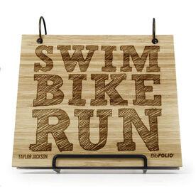 Engraved Bamboo Wood BibFOLIO Swim Bike Run (Stacked)