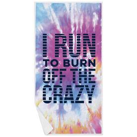 Running Premium Beach Towel - I Run To Burn off the Crazy Tie-Dye