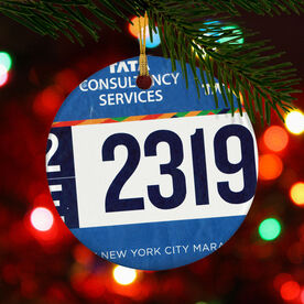Running Porcelain Ornament Your Race Bib on a Custom (Cropped Bib)