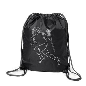 Guys Lacrosse Sport Pack Cinch Sack - Guys Lacrosse Player Sketch