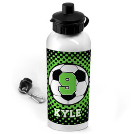 Soccer 20 oz. Stainless Steel Water Bottle Personalized Soccer Ball with Dots Background