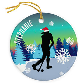 Field Hockey Porcelain Ornament Field Hockey Silhouette With Santa Hat
