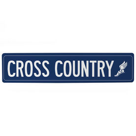 "Cross Country Aluminum Room Sign - Cross Country Winged Foot (4""x18"")"