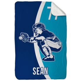 Baseball Sherpa Fleece Blanket - Personalized Catcher