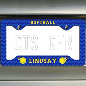 Softball License Plate Frame Personalized Softballs with Chevron Pattern