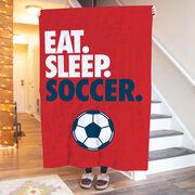 Soccer Premium Blanket - Eat. Sleep. Soccer. Vertical