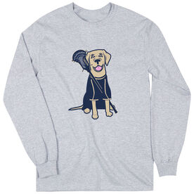 Guys Lacrosse Long Sleeve T-Shirt - Riley The Lacrosse Dog