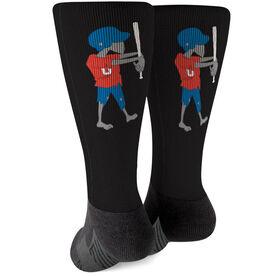 Softball Printed Mid-Calf Socks - Zombie Softball Player