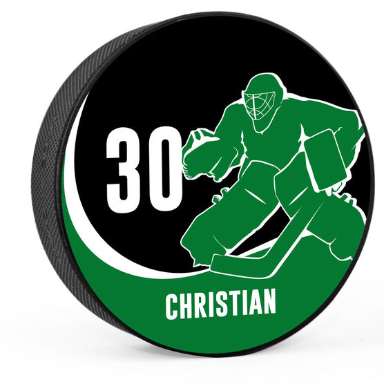 Personalized Goalie with Team Colors Hockey Puck