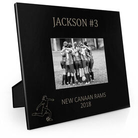 Soccer Engraved Picture Frame - Name and Number (Girl Player Silhouette)