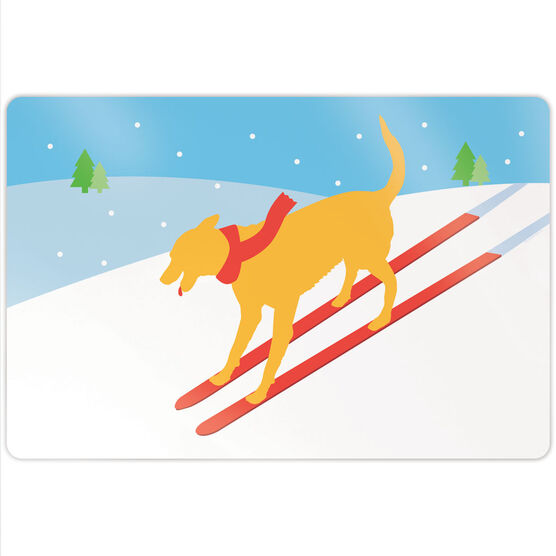 "Skiing 18"" X 12"" Aluminum Room Sign - Vintage Dog"