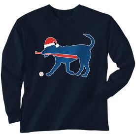 Baseball T-Shirt Long Sleeve Play Ball Christmas Dog