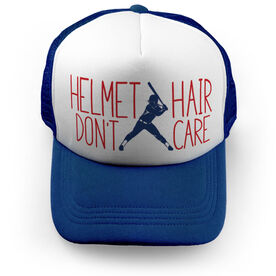 Softball Trucker Hat - Helmet Hair Don't Care