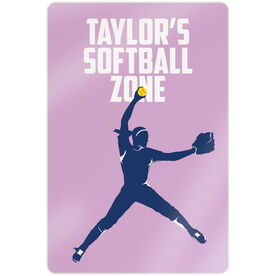 "Softball 18"" X 12"" Aluminum Room Sign - Personalized Softball Zone Pitcher"