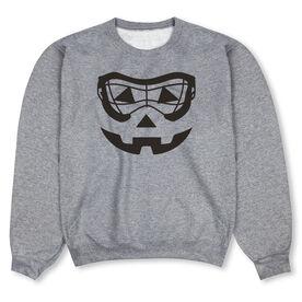 Girls Lacrosse Crew Neck Sweatshirt - Lacrosse Goggles Pumpkin Face