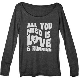 Women's Scoop Neck Long Sleeve Runners Tee All You Need Is Love And Running
