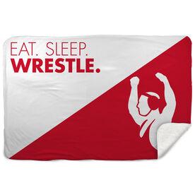 Wrestling Sherpa Fleece Blanket Eat Sleep Wrestle