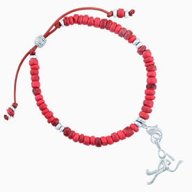Natural SportBEAD Adjustable Bracelet - Field Hockey Stick Figure Charm