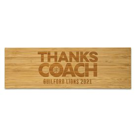 "Basketball 12.5"" X 4"" Engraved Bamboo Removable Wall Tile - Thanks Coach"
