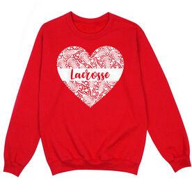 Girls Lacrosse Crew Neck Sweatshirt - Lacrosse Heart