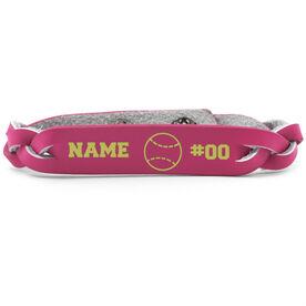 Baseball Leather Engraved Bracelet Name Ball Number