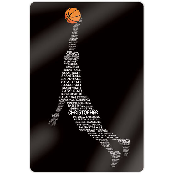 """Basketball 18"""" X 12"""" Aluminum Room Sign - Personalized Words Guy"""