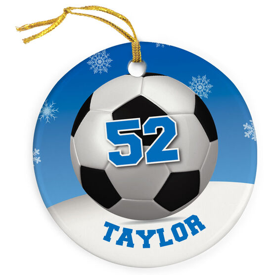 Soccer Porcelain Ornament Personalized Soccer Ball With Winter