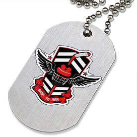 DARE TO WIN' Hockey Printed Dog Tag Necklace
