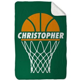 Basketball Sherpa Fleece Blanket - Personalized Ball In Net