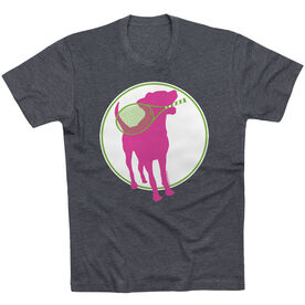 Tennis Tshirt Short Sleeve Tennis Dog with Racket