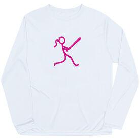 Softball Long Sleeve Performance Tee - Stick Figure Batter